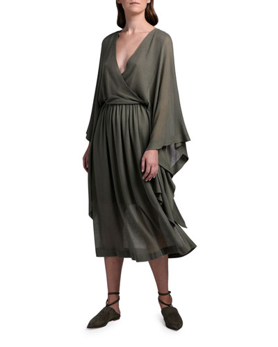 Batwing-Sleeve Faux Wrap Dress