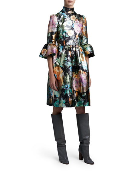 Marc Jacobs (Runway) Flared Brocade Flare-Sleeve Dress
