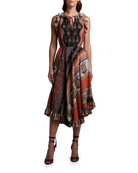 Etro Paisley Silk Ruffled-Shoulder Dress