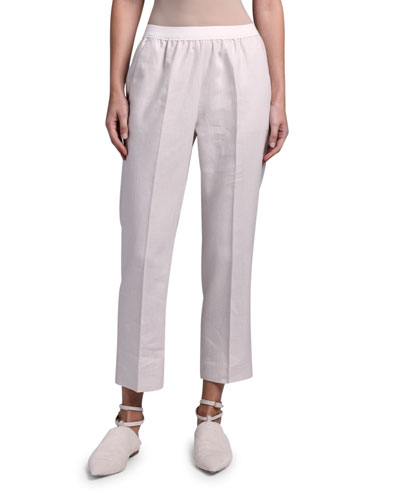 Linen Sporty Slim-Leg Pants