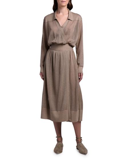 Agnona Cotton-Silk Mesh-Knit Shirtdress