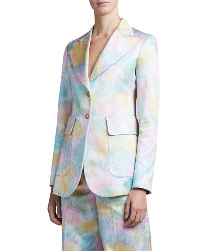 Floral Brocade Long Slim Blazer