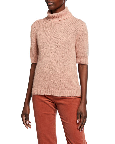 Piazza Sempione Metallic Boucle Turtleneck Sweater