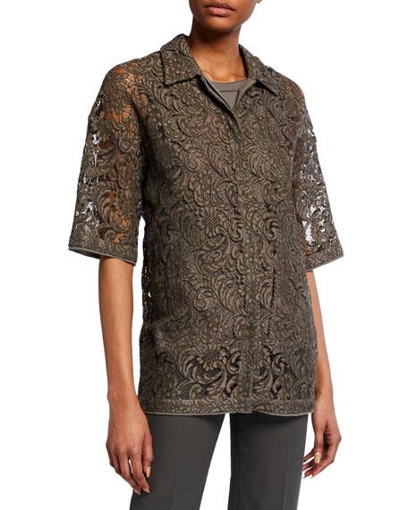 Piazza Sempione Lace 1/2-Sleeve Shirt Jacket