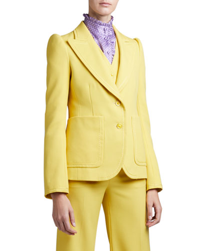 Fitted Puff-Sleeve Blazer