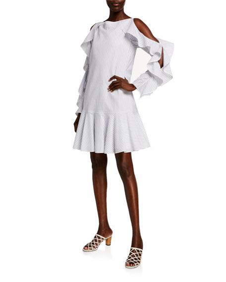 ADEAM Striped Cotton Cold-Shoulder Dress