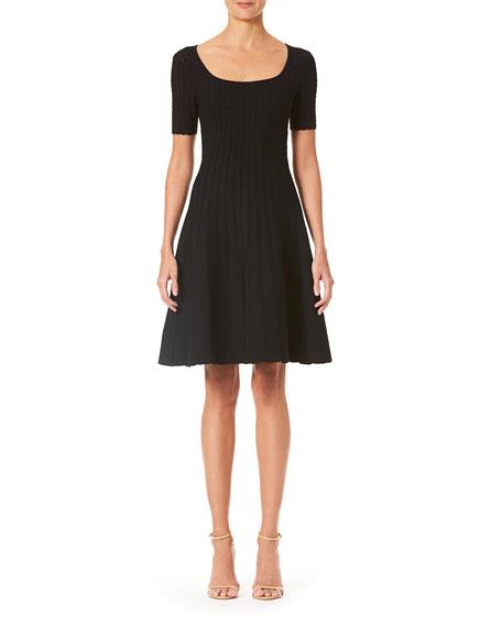 Carolina Herrera Lace-Stitched Flare Dress
