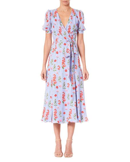 Carolina Herrera Floral Print Short-Sleeve Wrap Dress