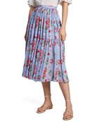 Carolina Herrera Floral Print Ruffled Silk Skirt
