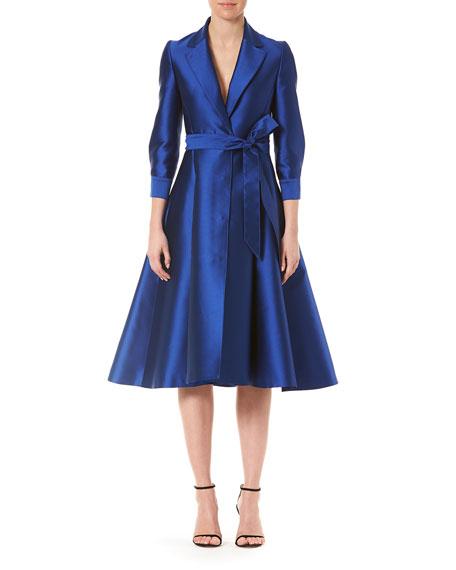 Carolina Herrera Taffeta Trench-Style Cocktail Dress