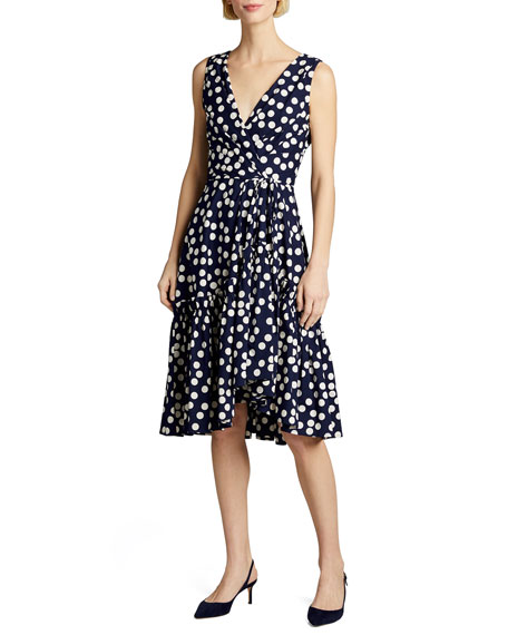 Carolina Herrera Polka-Dot Print Poplin Tie-Waist Dress