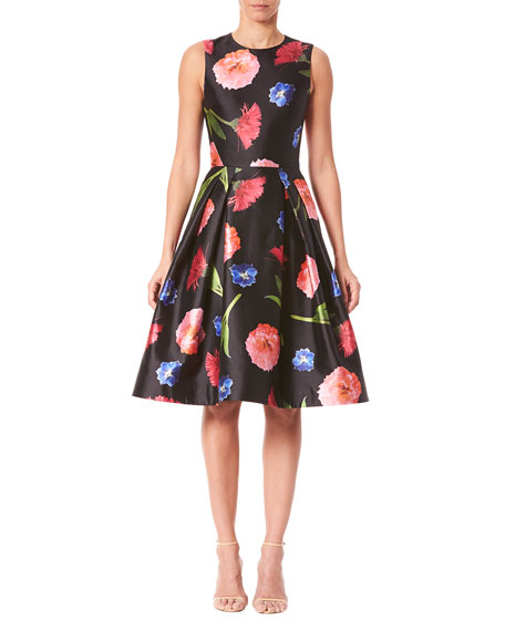 Carolina Herrera Floral Mikado Sleeveless A-Line Dress