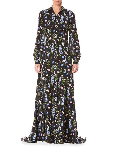 Carolina Herrera Long-Sleeve Shirt Gown