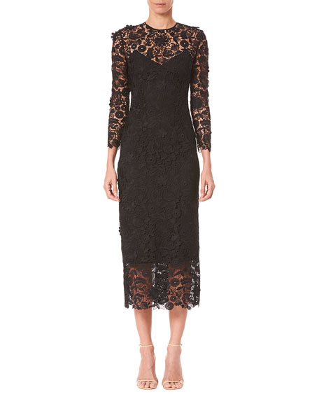 Carolina Herrera Bracelet-Sleeve Midi Lace Sheath Dress