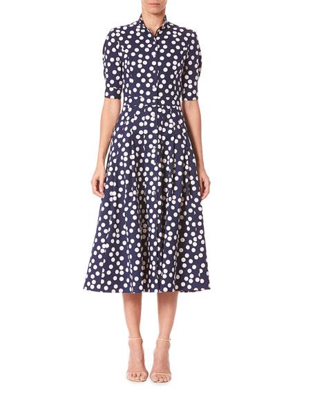 Carolina Herrera Polka Dot 1/2-Sleeve Shirtdress