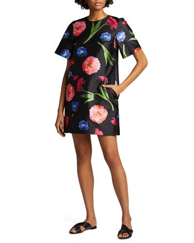 Floral Mikado Short-Sleeve Shift Dress