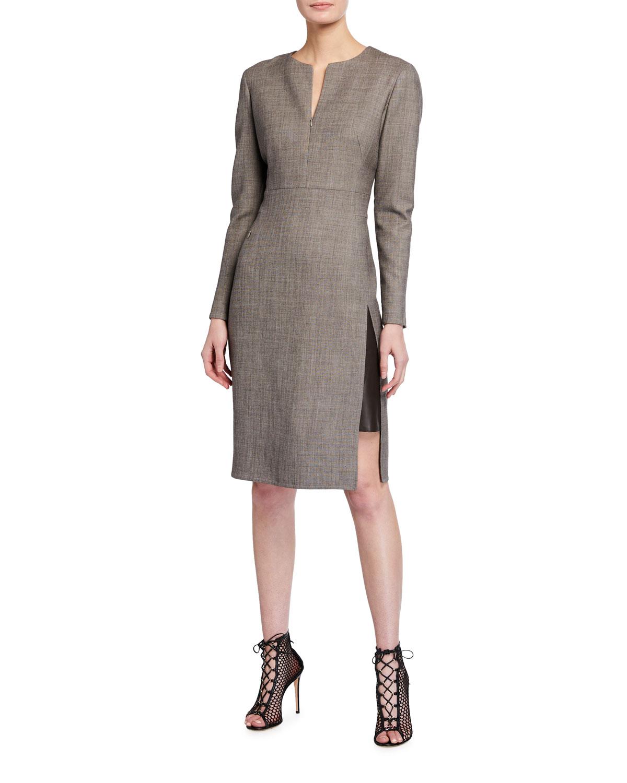 Long-Sleeve Slit-Neck Suiting Dress