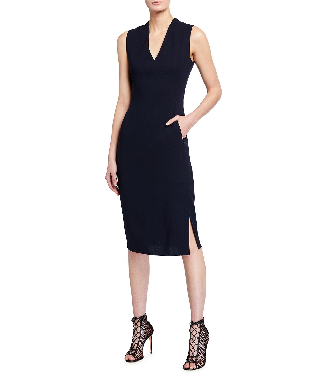 Crepe Sleeveless Sheath Dress
