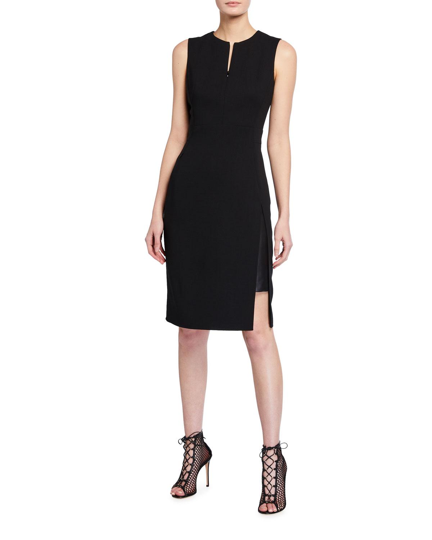 Slit-Neck Dress with Leather Underlay