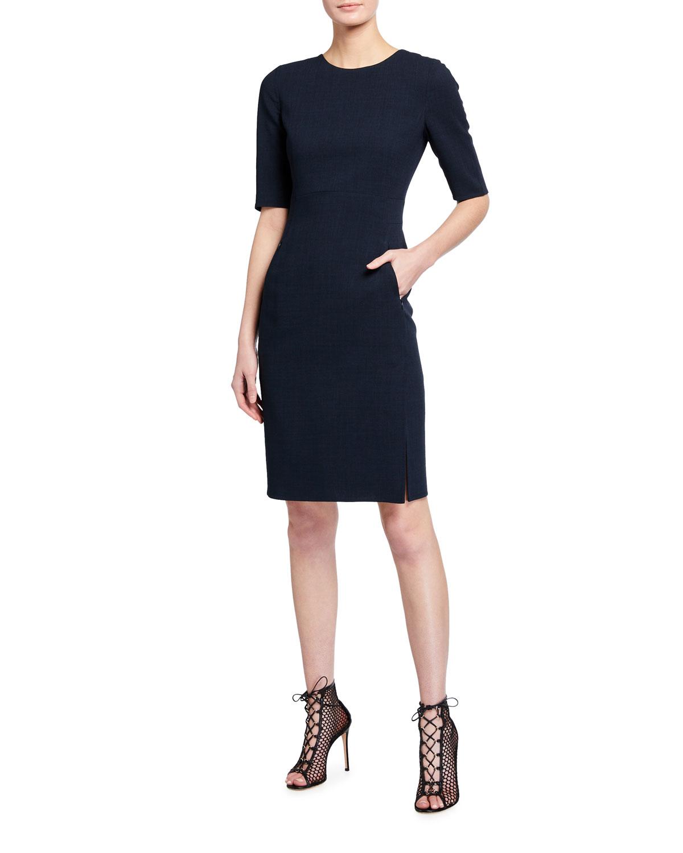 Short-Sleeve Round-Neck Dress