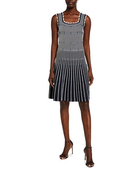 Lela Rose Variegated Striped Sleeveless Dress