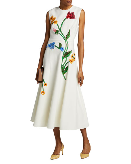 Lela Rose Floral-Embroidered Dress