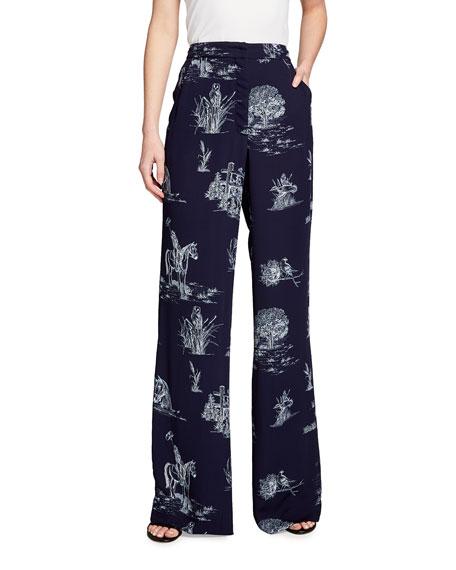 Lela Rose Maggie Toile Print Pants