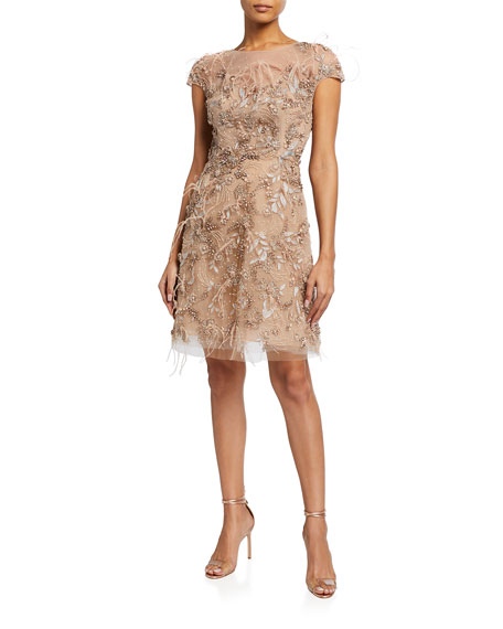 Marchesa Tulle Illusion Cap-Sleeve Cocktail Dress