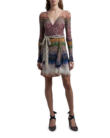 Missoni Zigzag Tie-Neck Dress