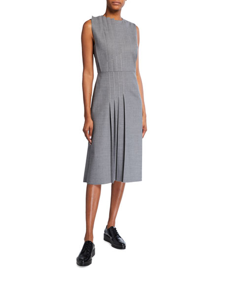 Partow Lydia Pleated Sleeveless Wool Dress