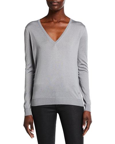V-Neck Long-Sleeve Fine Cashmere-Silk Top