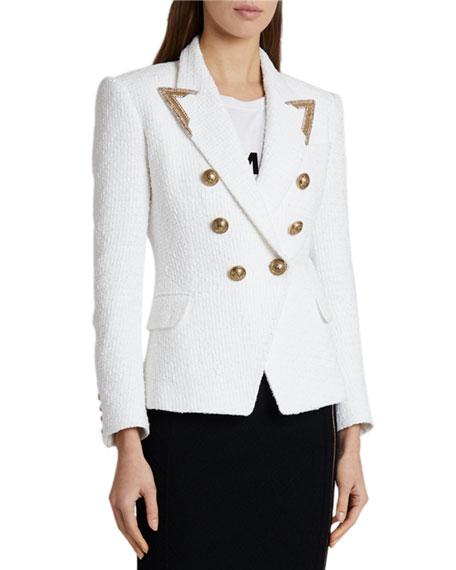 Balmain Serge Golden-Tipped Blazer Jacket