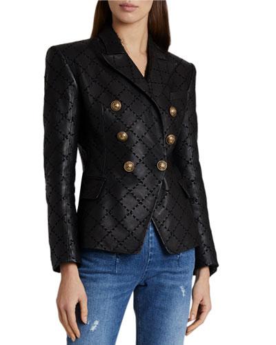 Diamond-Laced Leather Jacket
