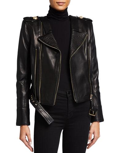 Logo-Patch Leather Jacket