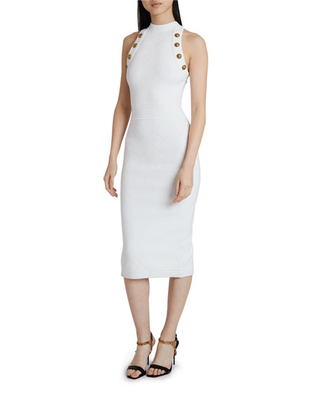 Balmain Diamond-Knit Midi Dress