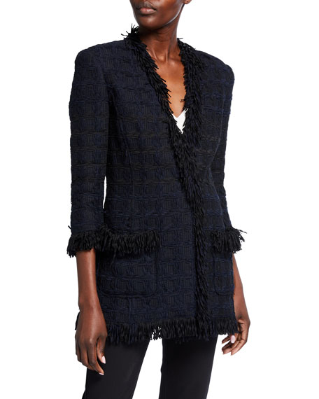 Oscar de la Renta Tweed V-Neck Jacket