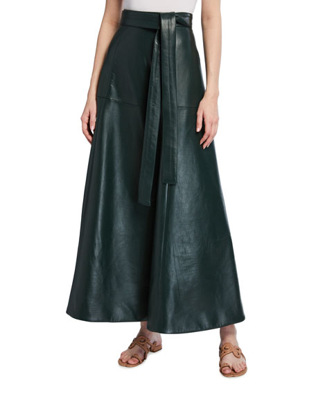 Oscar de la Renta Long Leather Skirt