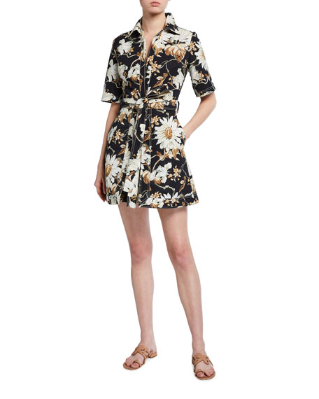 Oscar de la Renta Floral Print Cotton Day Dress