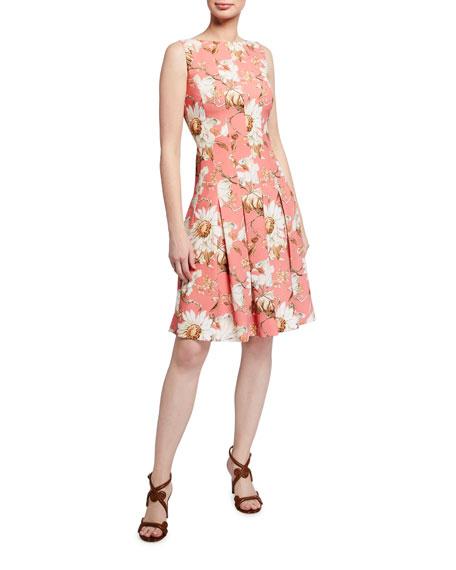 Oscar de la Renta Floral-Print Day Dress