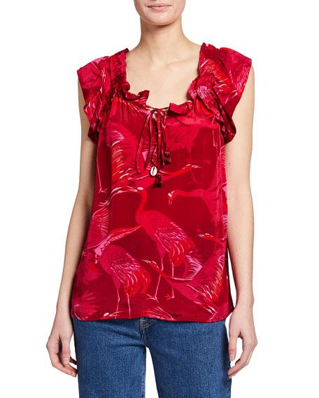 Figue Gianna Crane Print Tie-Neck Blouse
