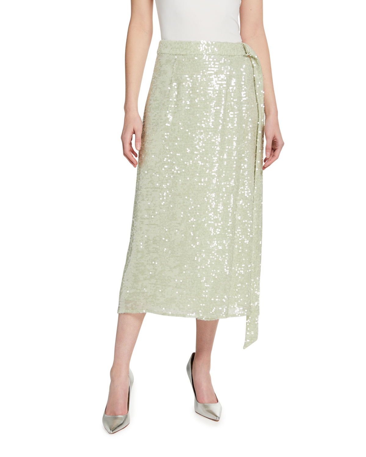 Sequined Viscose Belted Wrap Skirt