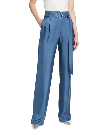 LAPOINTE Silky Twill High-Waist Belted Pants