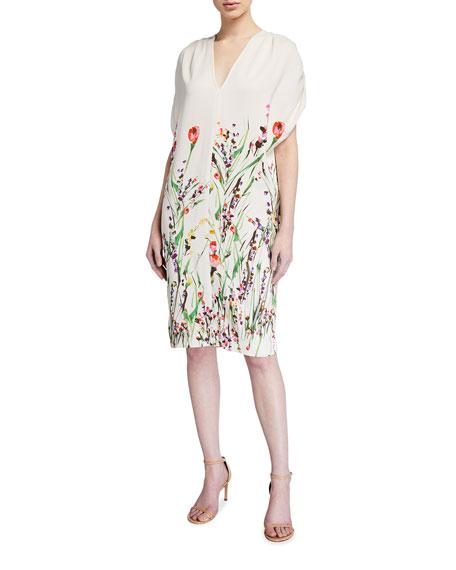 Lela Rose Wildflower Printed Crepe Tunic Dress