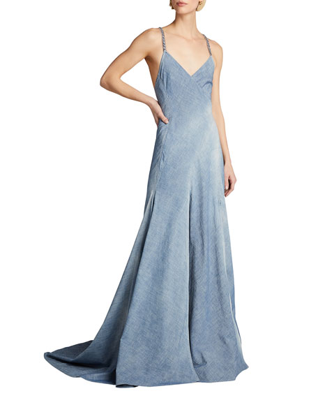 Ralph Lauren Collection Fernanda Chambray Wrapped Evening Dress