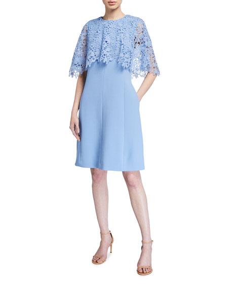 Lela Rose Crepe Tunic Dress with Lace Capelet