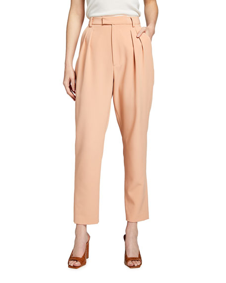 LAPOINTE Matte Crepe High-Waist Pleated Trousers