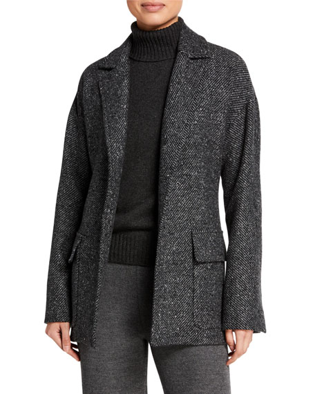 Loro Piana Cashmere Diagonal-Tweed Belted Coat