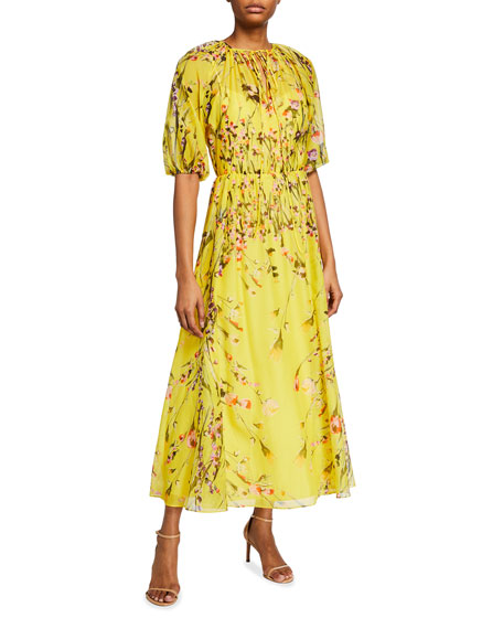 Lela Rose Sunflower Printed Voile Midi Cocktail Dress