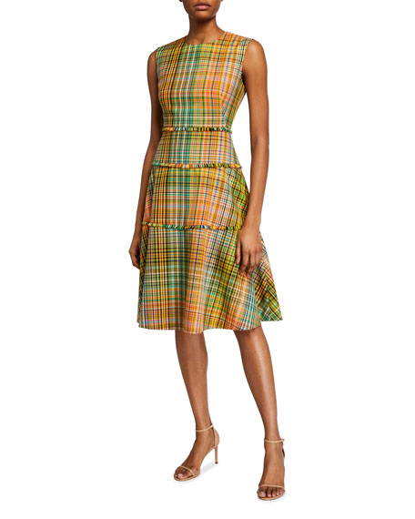 Lela Rose Hand-loomed Plaid Tiered Dress