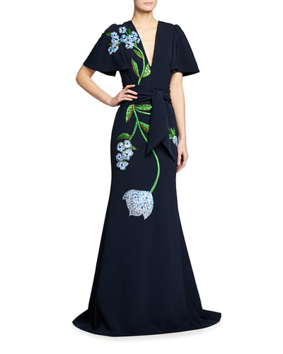 Flutter-Sleeve Embellished Gown